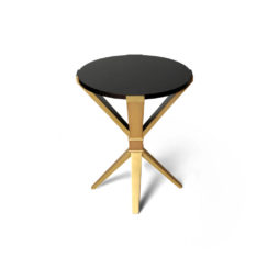 BonBon Round Dark Brown and Gold Cross Leg Side Table Top View