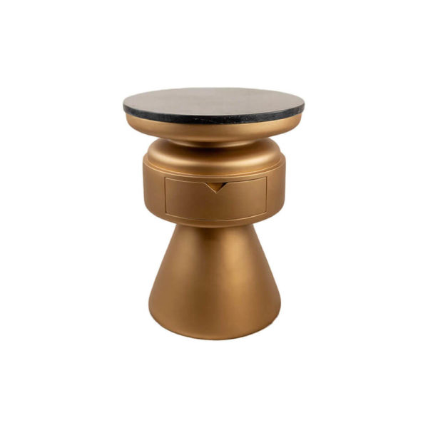 Bono Gold Circular Bedside Table with Drawer