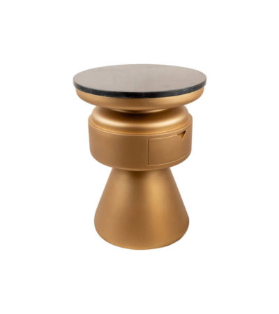 Bono Gold Circular Bedside Table with Drawer Side View