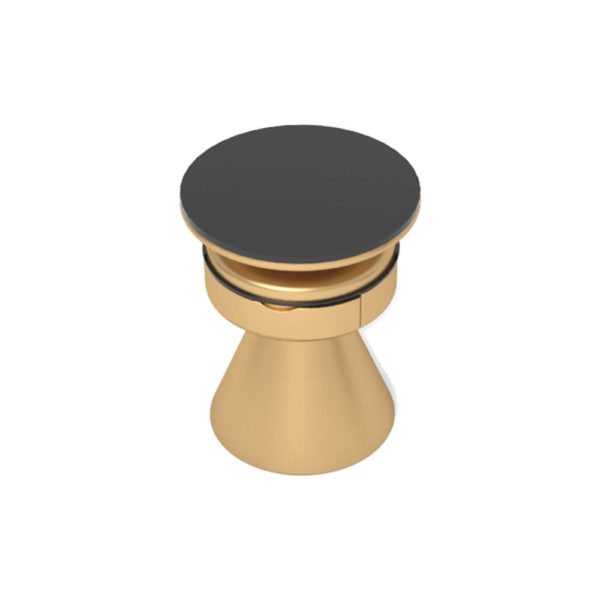 Bush Gold Round Bedside Table with Drawer Top View