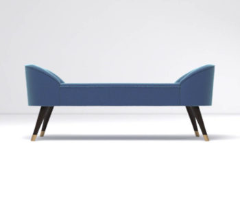 Celia Upholstered Bench with Arms Front View