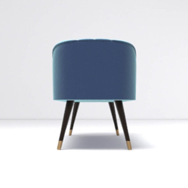 Celia Upholstered Bench with Arms Side View