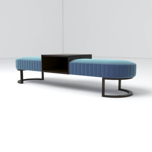 Charu Upholstered Bench with Curved Legs 1