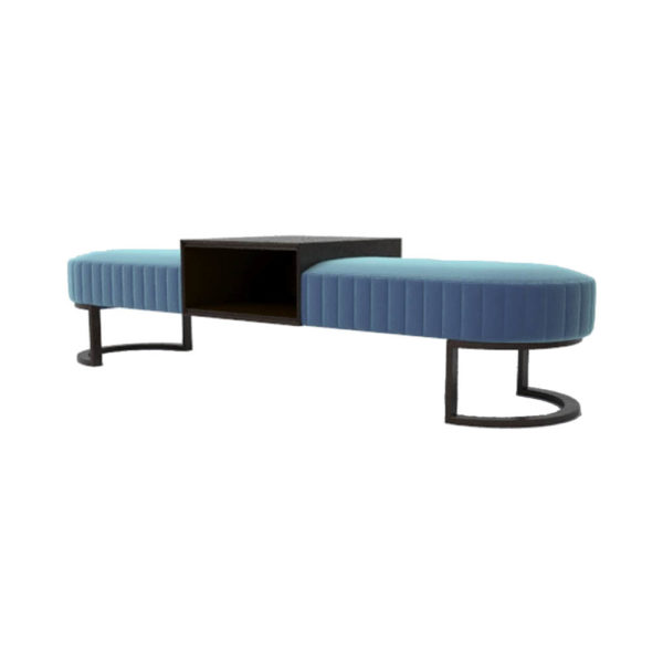 Charu Upholstered Bench with Curved Legs Side