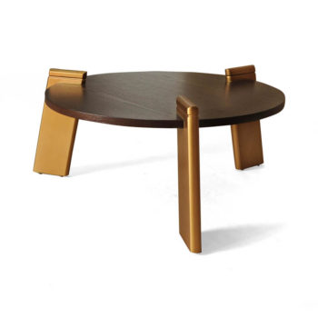 Cosmo Round Dark Brown Coffee Table with Gold Legs