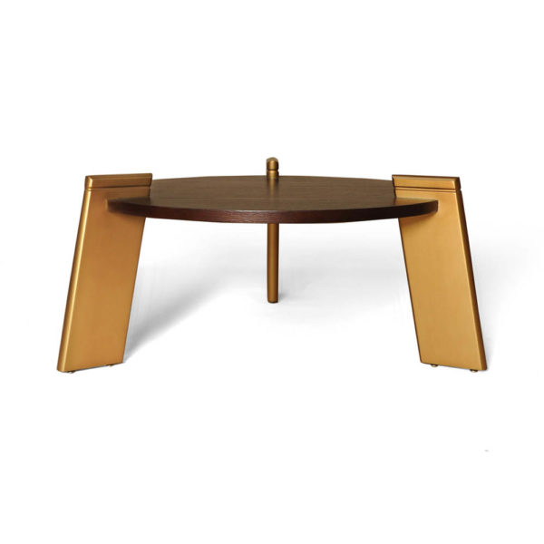 Cosmo Round Dark Brown Coffee Table with Gold Legs Side View