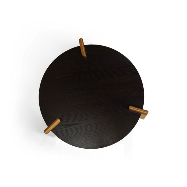 Cosmo Round Dark Brown Coffee Table with Gold Legs Top