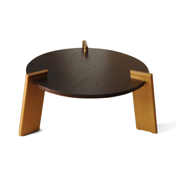 Cosmo Round Dark Brown Coffee Table with Gold Legs Top View