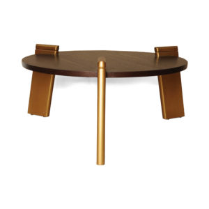 Cosmo Round Dark Brown Coffee Table with Gold Legs View