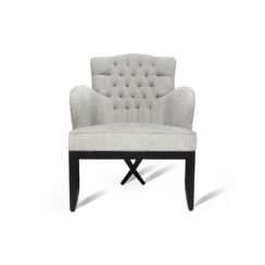 Cross Upholstered Tufted Armchair Gray