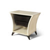 Crown Cream and Dark Brown Curved Bedside Table 1
