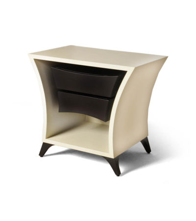 Crown Cream and Dark Brown Curved Bedside Table