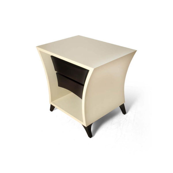 Crown Cream and Dark Brown Curved Bedside Table Beside