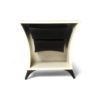 Crown Cream and Dark Brown Curved Bedside Table 3