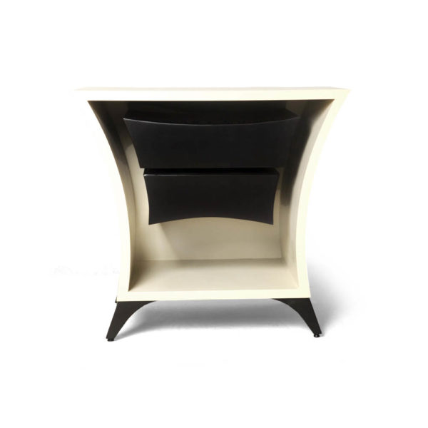 Crown Cream and Dark Brown Curved Bedside Table Front View