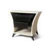 Crown Cream and Dark Brown Curved Bedside Table 2