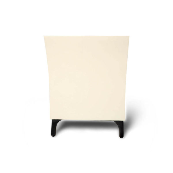 Crown Cream and Dark Brown Curved Bedside Table Side View