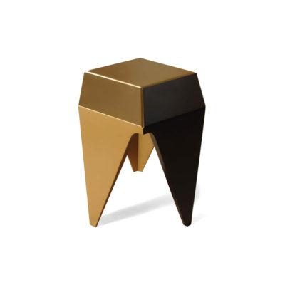 Diamond Hexagonal Black and Gold Side Table