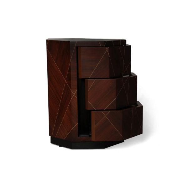 Drue Dark Brown 3 Drawer Bedside Table Open Drawers
