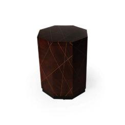 Drue Dark Brown 3 Drawer Bedside Table Veneer Inlay