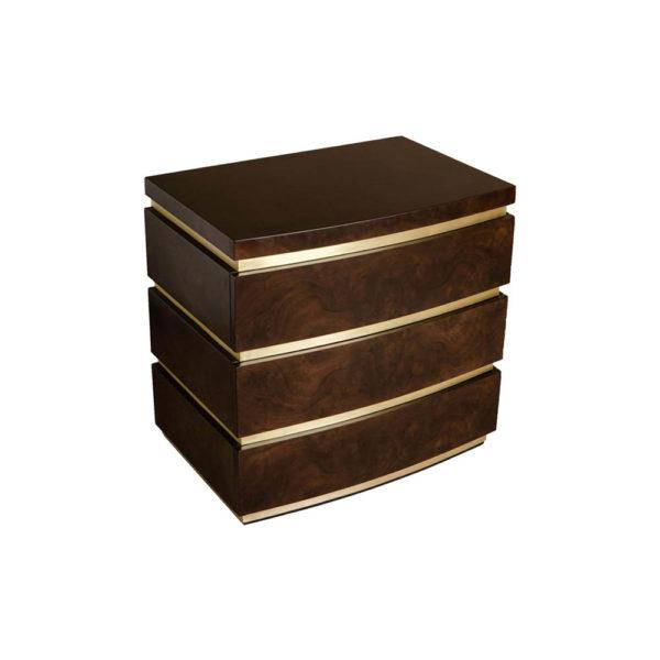 Eduard Dark Brown Wood with Brass Bedside Table Beside