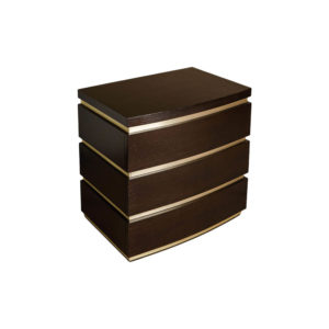 Eduard Dark Brown Wood with Brass Bedside Table Beside View