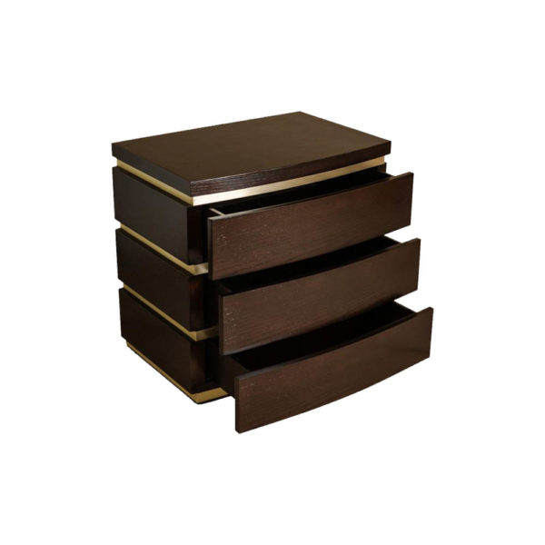 Eduard Dark Brown Wood with Brass Bedside Table Open Drawers