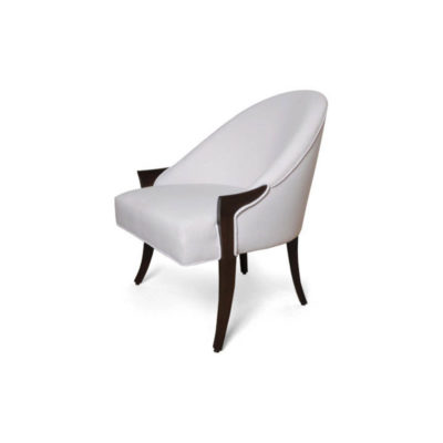 Elisa Upholstered Armchair Wooden Arms Left Side View