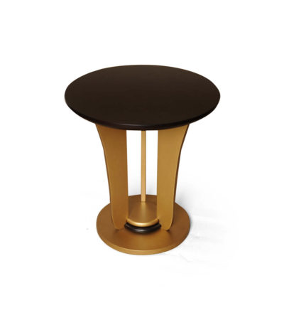 Fido Wooden Dark Brown and Gold Side Table