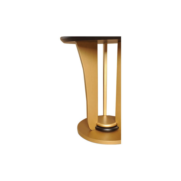 Fido Wooden Dark Brown and Gold Side Table Detailed