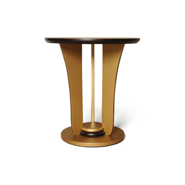 Fido Wooden Dark Brown and Gold Side Table Front View