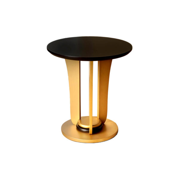 Fido Wooden Dark Brown and Gold Side Table Top View