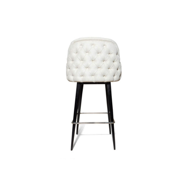 Finess Upholstered Wood and Stainless Steel Bar Stool Back