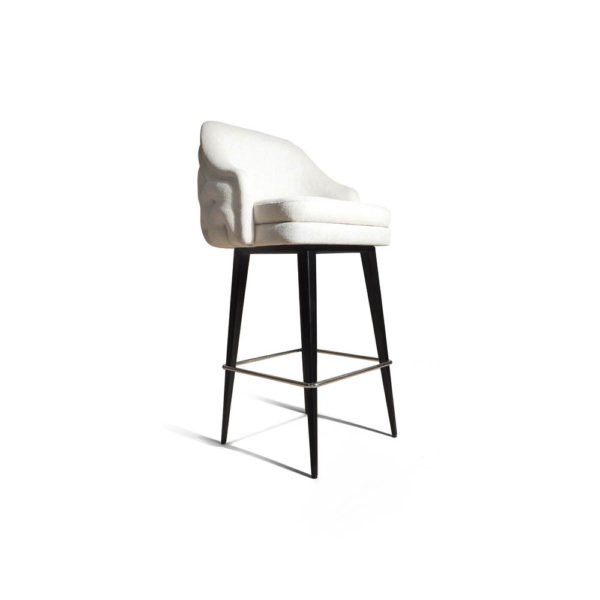 Finess Upholstered Wood and Stainless Steel Bar Stool Beside View