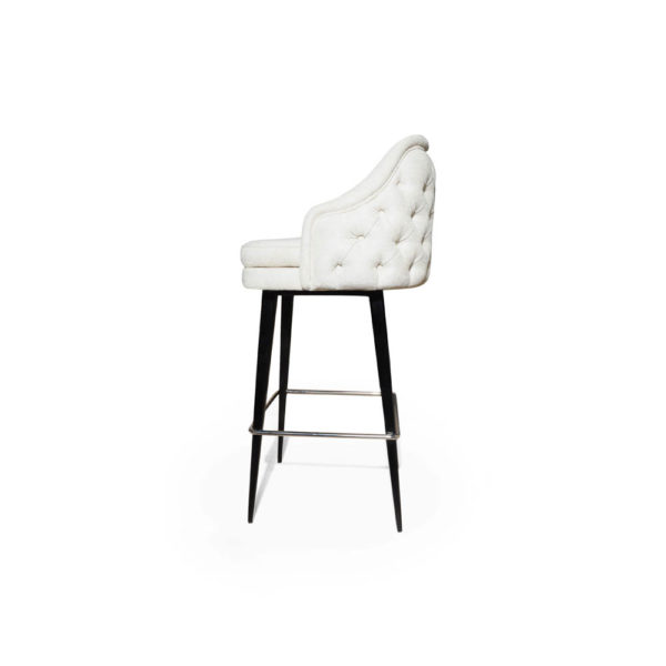 Finess Upholstered Wood and Stainless Steel Bar Stool Left Side View
