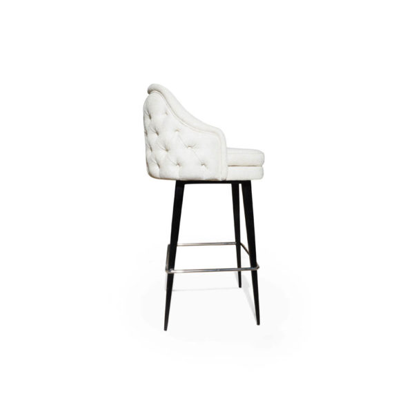 Finess Upholstered Wood and Stainless Steel Bar Stool Right Side View