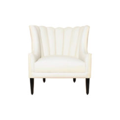 Georg Upholstered Armchair with Round Back and Black Legs