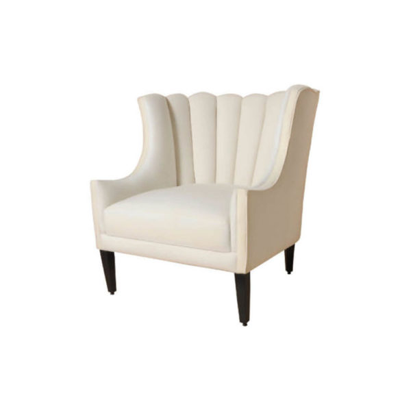 Georg Upholstered Armchair with Round Back and Black Legs Beside View