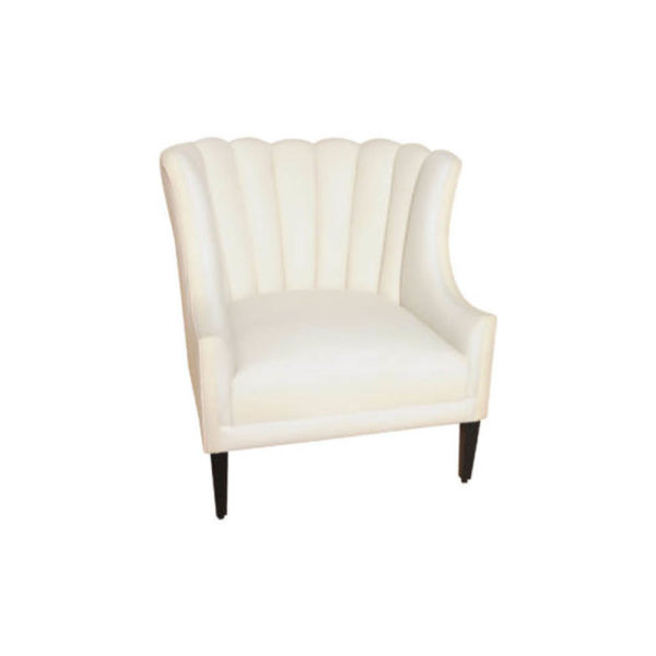 Georg Upholstered Armchair with Round Back and Black Legs Front
