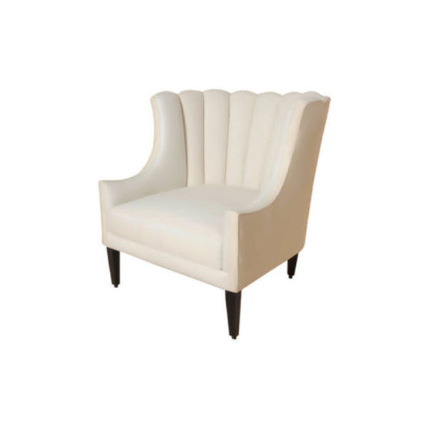 Georg Upholstered Armchair with Round Back and Black Legs Left Side View