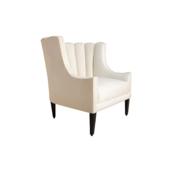 Georg Upholstered Armchair with Round Back and Black Legs Right Side View