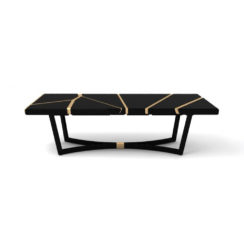 Gordon Black Lacquer Console Table with Brass Inlay