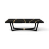 Gordon Black Lacquer Console Table with Brass Inlay 1