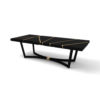 Gordon Black Lacquer Console Table with Brass Inlay 2