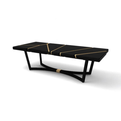 Gordon Black Lacquer Console Table with Brass Inlay Beside View