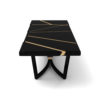 Gordon Black Lacquer Console Table with Brass Inlay 4