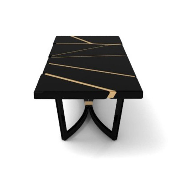 Gordon Black Lacquer Console Table with Brass Inlay Side View