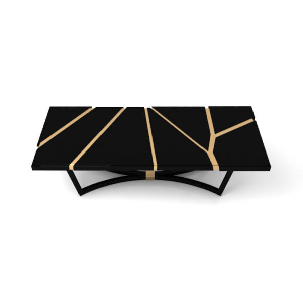 Gordon Black Lacquer Console Table with Brass Inlay Top View