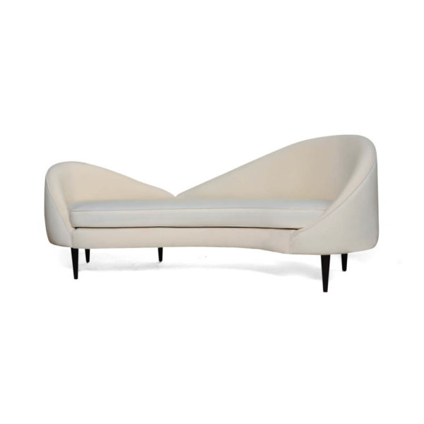 Heart Upholstered Curved Back Sofa with Wooden Legs Calico
