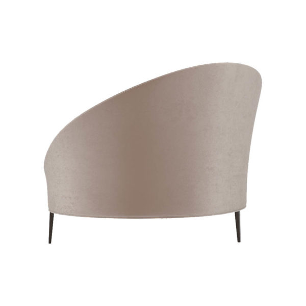 Heart Upholstered Curved Back Sofa with Wooden Legs Left Side